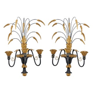 Mid-Century Italian Vintage Wheat Sconces - A Pair For Sale