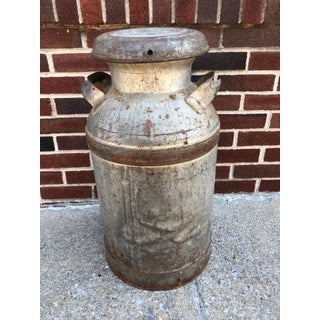 Vintage Rustic Metal 10 Gallon Milk Can With Lid Preview