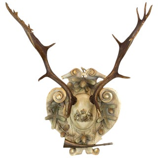 19th Century Habsburg Fallow Trophy on Italian Polychrome Plaque For Sale