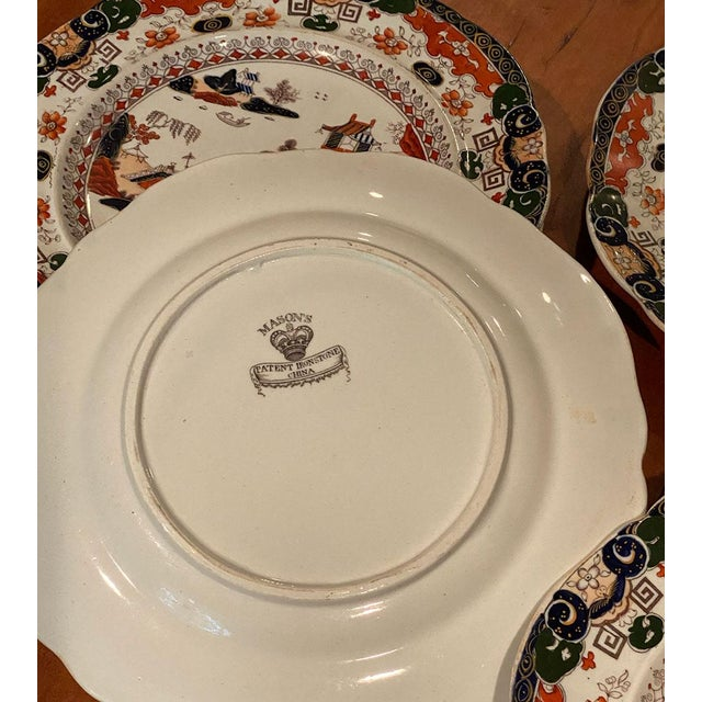 Antique Mason's Ironstone Chinoiserie Luncheon or Dinner Plates — Set of 6 For Sale - Image 9 of 11