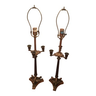 Antique Bronze Triple Claw Foot Candle Lamps - A Pair