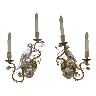 Gilded Maison Bagues Parrot Bird Sconces - A Pair For Sale