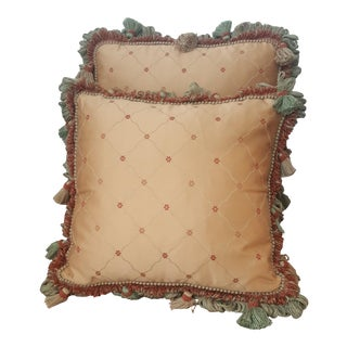 French Bronze and Terracotta Silk and Tassels Throw Pillows - a Pair For Sale