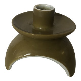 1970s Atomic Olive Green Candle Holder For Sale