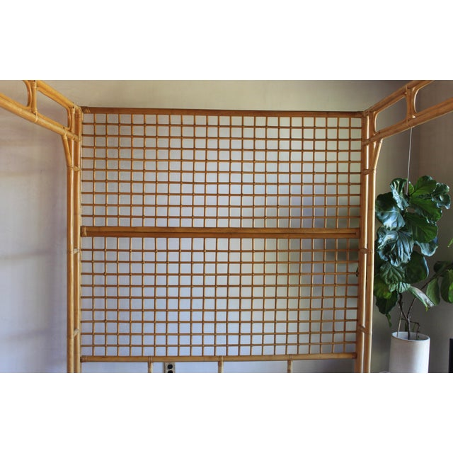 Vintage Queen Rattan and Bamboo Chippendale Chinoiserie Canopy Bed - Image 10 of 11