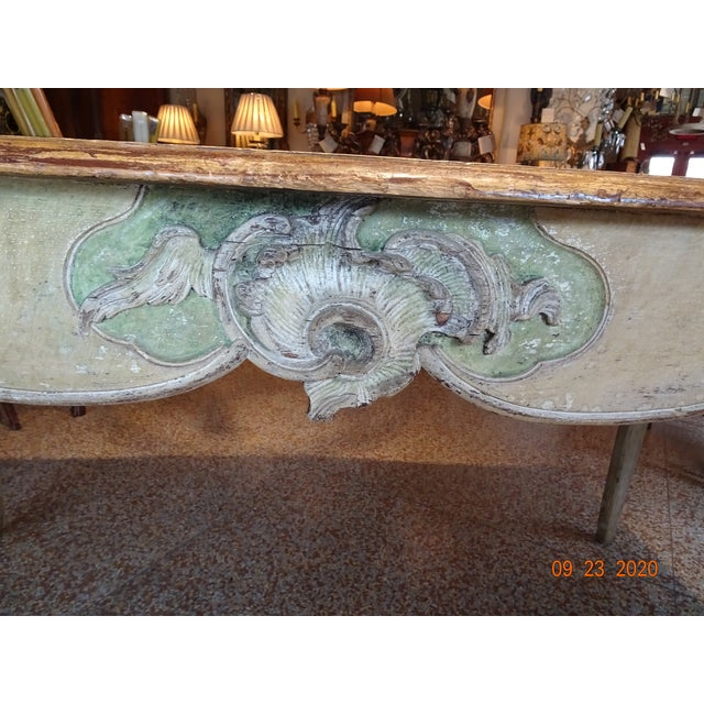 Mid 19th Century French desk painted in polychrome colors. ( pale cream, antique white and pale green.) Gold embossed...