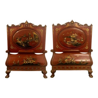 Pair of English Chinoiserie Twin Beds