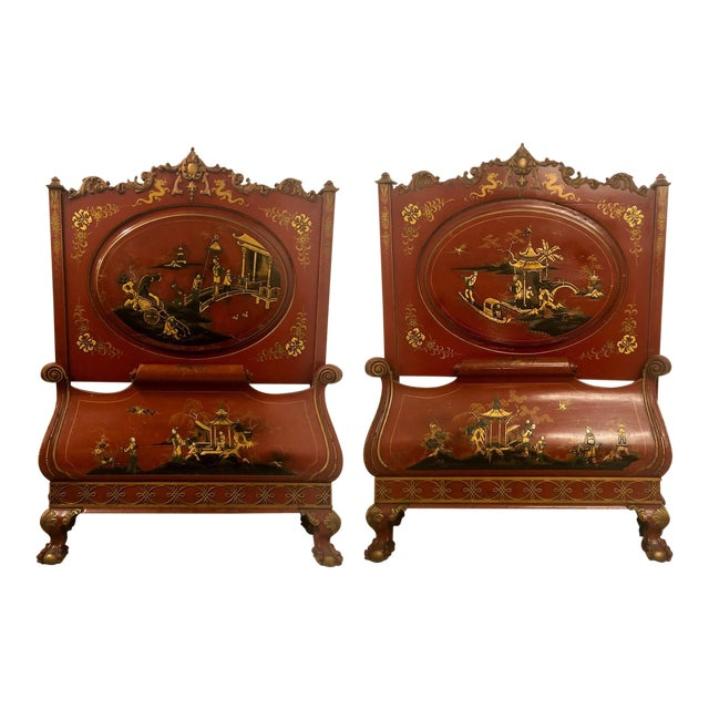 Pair of English Chinoiserie Twin Beds For Sale