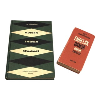 Vintage Danish & Swedish Grammar Foreign Language Books - A Pair For Sale