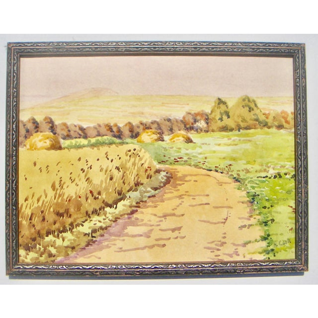 1950s Vintage H. Cook, l.r. Rural California Landscape Watercolor Painting For Sale - Image 4 of 4