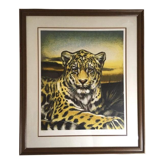 Huge Jaguar Lithograph by Martin Katon For Sale