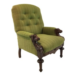 Antique Empire Chartreuse Tweed and Mahogany Dogs Head Lounge Chair For Sale