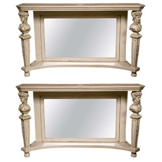 Pair of Marble-Top Painted Pier Console Tables For Sale