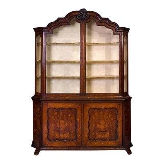 1950s Dutch Rococo Fruitwood Inlaid Oak Bookcase For Sale
