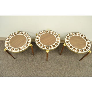 3 Mid Century Modern Round Tile Walnut Brass Nesting Snack Stack End Side Tables Preview