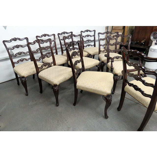 Mid 20th Century Georgian Style Ladder Back Dining Chairs - Set of 10 For Sale - Image 5 of 8