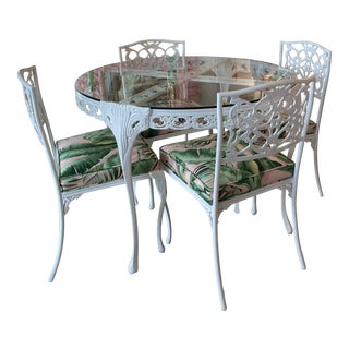 Vintage Patio Set Dining Table & Chairs Newly Powder-Coated Upholstered -5 Piece For Sale