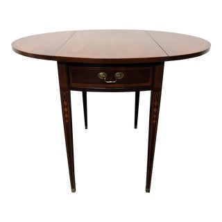 Hepplewhite Federal Style Inlaid Mahogany Pembroke Drop Leaf End Side Table By Hickory
