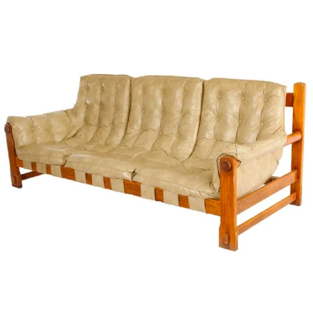 Percival Lafer Style Leather Sofa For Sale - Image 6 of 6