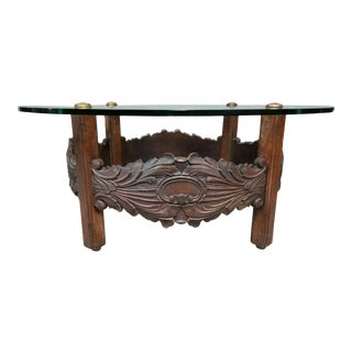 Vintage Spanish Revival Hand Carved Oak + Glass Top Cocktail Coffee Center Table For Sale