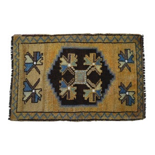 Distressed Low Pile Rug Kurdish Yastik Small Rug Faded Colors Mat - 23'' X 34'' For Sale