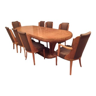Art Deco Burl Walnut Dinning Room Set Consisting of Table and Eight Chairs - Set of 9 For Sale