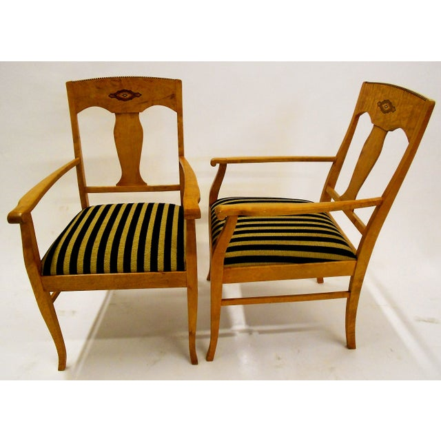 Swedish Jugendstil Birch Armchairs - A Pair - Image 3 of 8