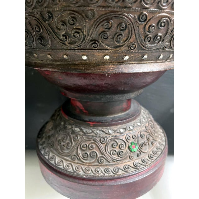 Asian Antique Lacquered Wood Offering Vessel, Thailand For Sale - Image 3 of 12