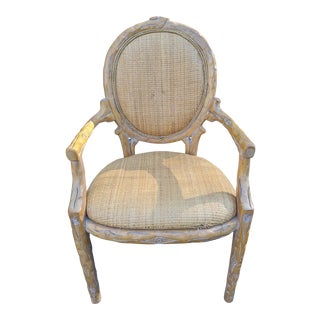 French Carved Blonde Wood Casa Stradivari Lounge Arm Chair With Wicker Seat & Back For Sale