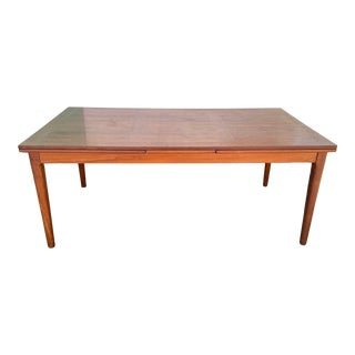 Mid 20th Century Skovby Mobler Teak Dining Table with Dual Pull-Out Extendable Leaves For Sale