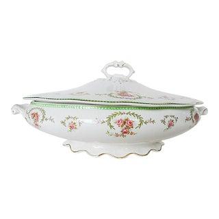 Antique W. H Grindley Rose Decoration Covered Serving Bowl For Sale