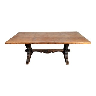 1930s French Hand Carved Trestle Solid Wood Table For Sale