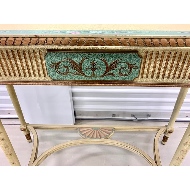 Light Yellow French Country Hand Painted Maitland Smith Console Table For Sale - Image 8 of 11