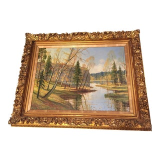 1930s Vintage Landscape Oil Painting For Sale