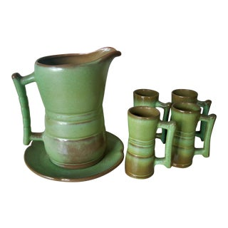 1950s Frankoma Pottery Pitcher & 4 Mugs - Set of 6 For Sale