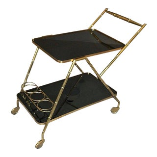 Italian Brass Faux Bamboo Bar Tea Cart For Sale