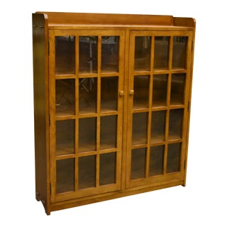 Crafters and Weavers Mission Oak 2 Door Bookcase With Glass Doors Michael's Cherry For Sale