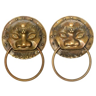 Large Asian Beast Motif Brass Knockers Pair For Sale