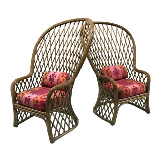 Vintage Rattan Chairs With Silk Ikat Cushions — a Pair For Sale