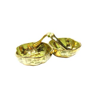 1950's Vintage Mid Century Hand Made 22 Kt Gold Painted Double Bowl Candy Dish For Sale