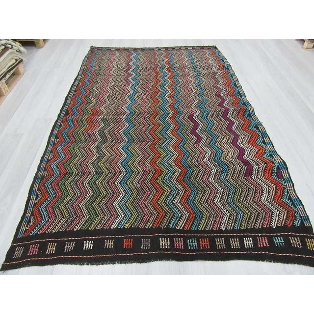 Islamic Vintage Turkish Kilim Decorative Embroidered Rug - 6′4″ × 9′8″ For Sale - Image 3 of 6