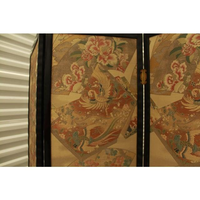 Japanese Byobu Folding Screen With Silk Panels - Image 5 of 8