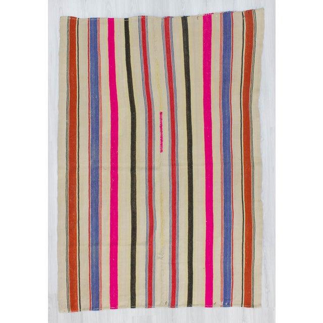 Vintage Colorful Striped Turkish Kilim Rug - 5′4″ × 7′8″ - Image 2 of 6