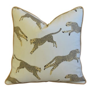 "Scalamandre Cheetah & Velvet Feather/Down Pillow 20"" Square For Sale"