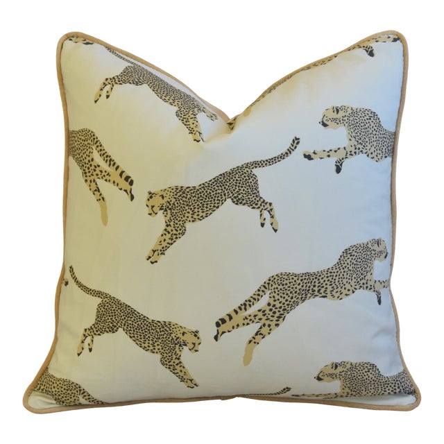 """Scalamandre Cheetah & Velvet Feather/Down Pillow 20"""" Square For Sale"""