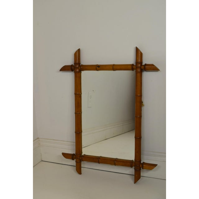 Early 1900's Faux Bamboo Wood Mirror For Sale - Image 4 of 4