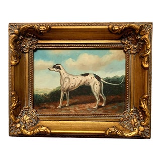 Late 20th Century Dog Portrait Oil Painting, Framed For Sale