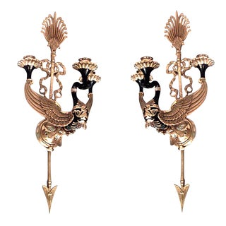 Russian Neoclassic Style Bronze Two-Arm Sconces - a Pair For Sale