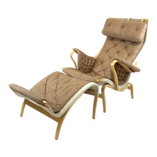 Bruno Mathsson Pernilla Lounge Chair & Ottoman For Sale