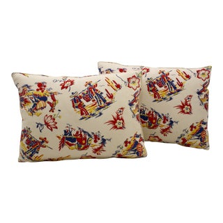 Festive Vintage Printed Cotton Pillows - a Pair